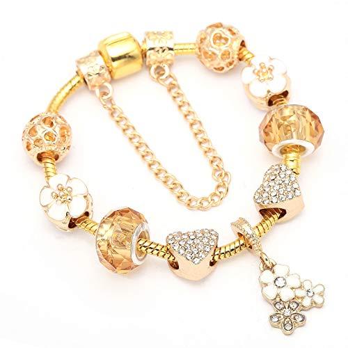 Pulseras del encanto del color dorado con la flor romántica colgante DIY pulsera regalo joyería para las mujeres C01 20cm
