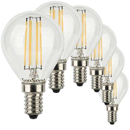 SunSeed® 6x Glühfaden LED Golfball-Lampe E14 6W ersetzt 60W Warmweiß 2700K