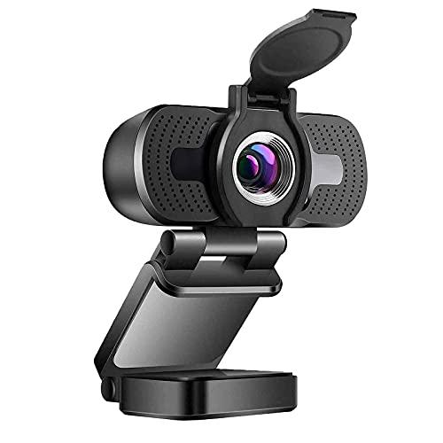 Webcam 1080P Voll HD, 2MP Desktop oder Laptop USB Kamera für Videoanrufe, Konferenzen, Streaming, Aufnahme, Skype, Plug-and-Play, Flexibel Einstellbarer Clip, Weitwinkel