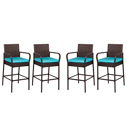 Outdoor Bar Chairs Set of 4 Patio Wicker Bar Stools Bar Height Furniture with Arms