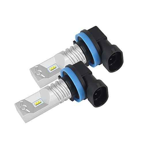 CICMOD 30W LED Kit Anti-Brouillard Ampoule LED de Feux Voiture Super Lumineux Lampe Diurne DRL Plat Journée Lampe pour Camions SUV ATV Véhicule Blanc, 10G-H8W/H9/H11/H16(JP-PHI-6500K (1 Paire)