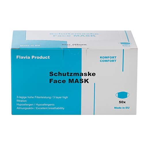 Made IN EU | 50 Stück Mundschutz Masken | 3-lagige Einwegmasken mit Nasenbügel | Schutzmasken Mund-Nasen-Schutz | Hygienemasken | Disposable Face Mask