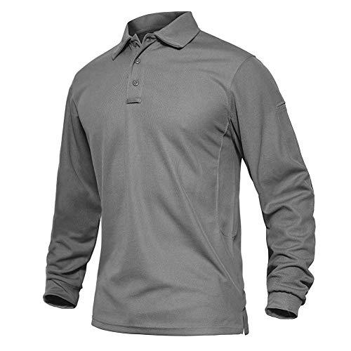 EKLENTSON Hombre Camisas - Polos de Golf de Manga Larga Casuales y Ligeros Camisas de Deporte Militar Gris Claro Talla 3XL