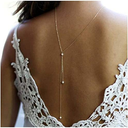 Yfe Back Necklace Pearl Backdrop Necklace Body Chain Jewelry for Women and Girls Bridal Jewelry product image