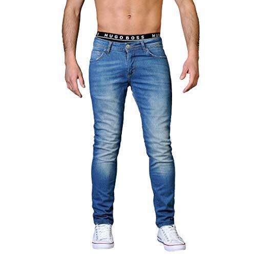 Gelverie Jeans Herren Slim Fit Jeanshose Stretch Designer Hose Denim I Medium Blue Denim Used, W30 / L32
