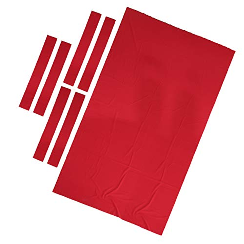 Milageto 8ft Pool Table Cloth with 6 Felt Strips for Snooker Billiard Table Maintain Red