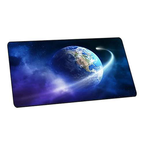 DJSK Mauspad aus Naturkautschuk, rutschfest, blau, extra groß, Planet Sterne, Spielmatte mit Verriegelungskante, 300 x 700 x 3 mm