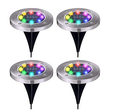 TCOLL Solar Bodenleuchte Gartenleuchte 8 LEDs 4 Stück ,Bodenlicht im Freien für die Landschaft,Gehweg,Wasserdicht Solarlampen Garten (Farbe)