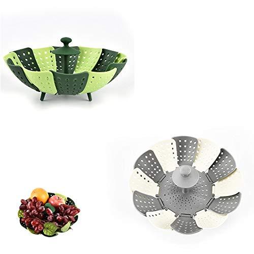 Vaporera plegable para verduras, vaporera de silicona con malla para cestas de...