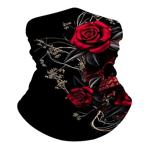Gothic Rose Blood Skull Seamless Face Scarf Multi-Function Neck Gaiter Headwear Sport Headband Beanie Dust-Proof Sun Protection Riding Mask Sunscreen Breathable Balaclava Bandana for Women Men, 50x25cm
