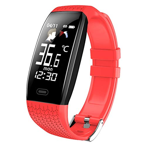 Ake Smart Watch T5 Temperatura Corporal Temperatura Impermeable Pulsera de Aptitud Fitness Llamada Modo de Ejercicio Modo Inteligente Reloj Deportivo Hombres y Mujeres,A