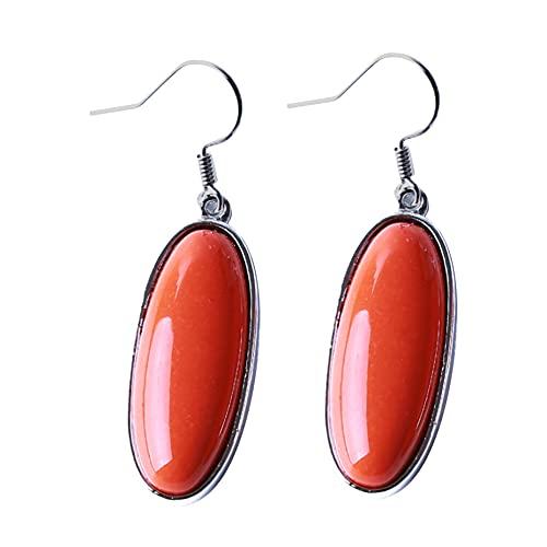 MGZQ Pendientes de temperamento clásicos ovalados de color naranja, rojo, turquesa, estilo étnico, para mujer