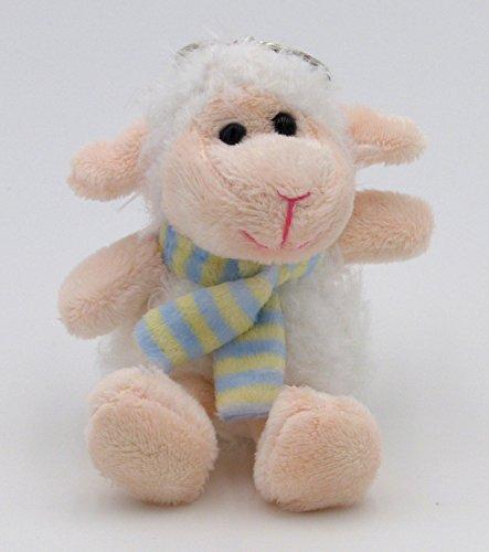 BOBBL Süßer Plüsch Schaf Schlüsselanhänger - Taschenanhänger - flauschig weich - weiß blau