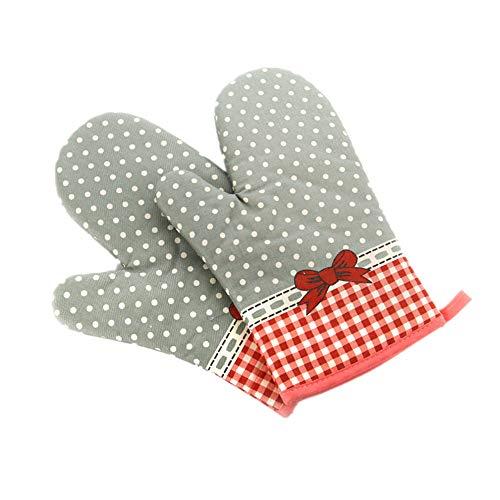 Voarge 1 Paar Verdickte Hitzebeständige Ofenhandschuhe, Backofenhandschuh Hitzebeständig, in vielen lustigen Designs, Grau-Rot gepunktet 商品名称