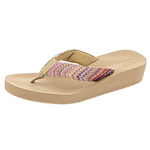 Dunlop Damen-Flipflops, niedriger Keilabsatz, mehrere Plateausohle, Sommerschuhe, Größe 36-42, - Beige / mehrfarbig - Größe: 41 EU