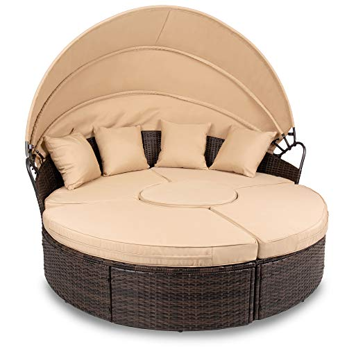 Best Choice Products 5-Piece Outdoor Patio Wicker Daybed Sectional, Clam Shell Lounger w/Adjustable Seats, Seat Clips, Retractable Canopy, Protective Cover, Weather-Resistant Cushions