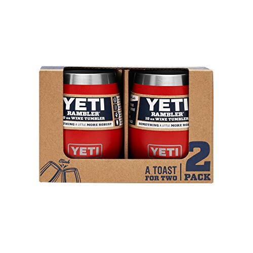 YETI Rambler 10 oz Wine Tumbler, Vacuum Insulated, Stainless Steel, 2 Pack, Canyon Red