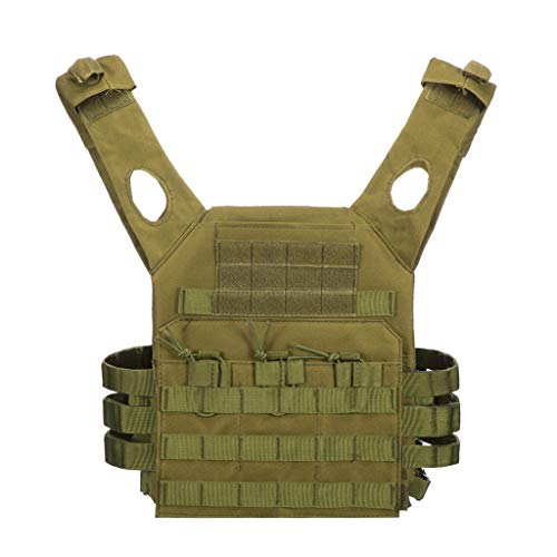 Jipemtra Tactical Airsoft Outdoor Molle Breathable JPC Vest Game Protective Vest Adjustable Modular Chest Set Vest CS Field Vest Combat Training Vest (Green)
