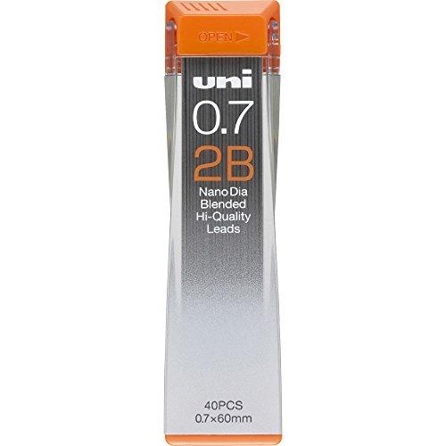 Uni Mechanical Pencil Lead, Nano Dia, 0.7mm, 2B (U07202ND2B)