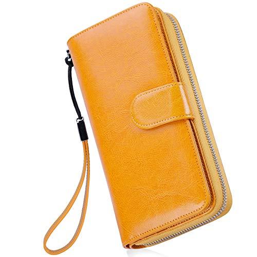 Monederos Mujer Cartera Cuero de Mujer Grande Capacidad Wallet con RFID Bloqueo, Larga Billetera Bolsos con Bolsillo de Cremallera y Correas de Muñeca Amarillo
