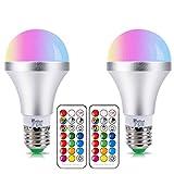 Lampadina LED RGB con Luce Bianca E27 10W Dimmerabile Cambia Colore Lampadine,con 21 Chiave Telecomando,Funzione di Memoria Dual,12 scelte di colore,per Casa, Party, Discoteca (2 Confezione)