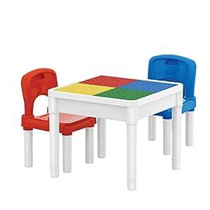 deAO Centro de Actividades 3en1 Mesita Multiusos para el Aprendizaje y Creatividad Infantil Incluye 2 Sillas