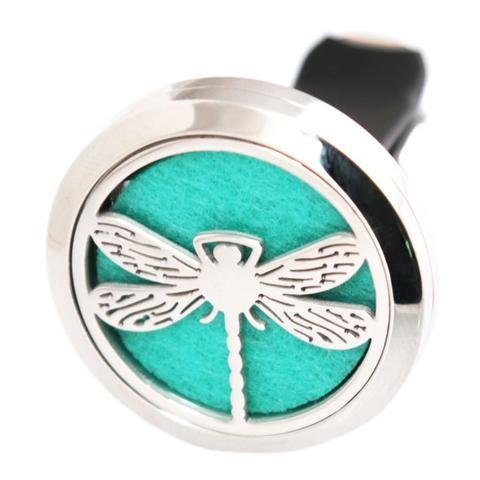 Aromabug (Dragon Fly) 30mm Car Aromatherapy Essential Oil Diffuse Stainless Steel Locket Air Freshener with Vent Clip 7 Pads 3 Oils Included