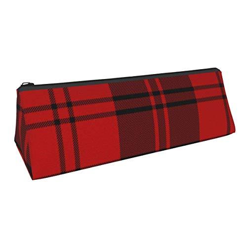 Erskine Tartán negro y rojo, portátil, elegante, para bolígrafos, para lápices, para papelería, estuche para cosméticos, para estudiantes de escuela secundaria, colegio, oficina