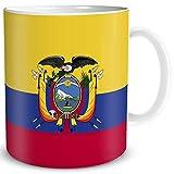 TRIOSK Tasse Flagge Ecuador Länder Flaggen Ecuadorian Geschenk Südamerika Souvenir für Reiselustige Frauen Männer Arbeit Büro Weltenbummler
