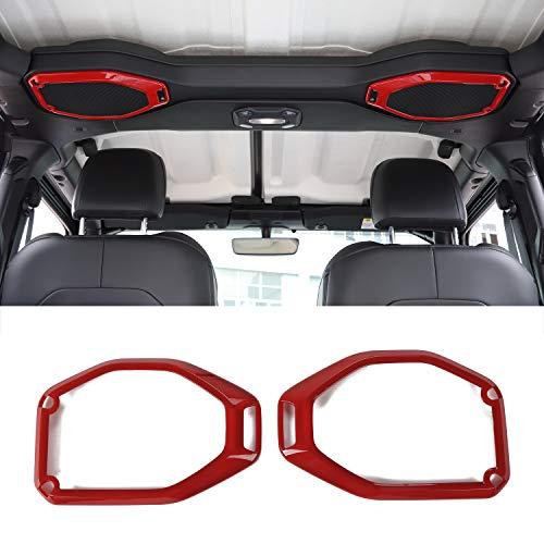 Car Top Roof Speaker Frame Trim Cover Interior Decoration Accessories for 2018 2019 2020 Jeep Wrangler JL JLU (Red)
