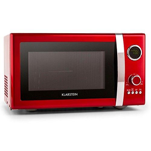 Klarstein Fine Dinesty - magnetron, magnetron met grill, retro, metalen behuizing, 23L ovenruimte, 800W magnetronvermogen, 1000W grillvermogen, timer, 12 programma's, LCD-display, rood