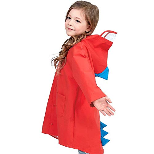 Fenleo Raincoat for Kids Age 2-7 Rain Jacket Dinosaur Shaped Lightweight Rainwear for Boy Girl Red