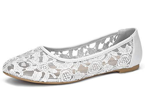 Greatonu Damen Geschlossene Ballerinas Brautschuhe Spitze Flache Schuhe Grau Größe EU 39