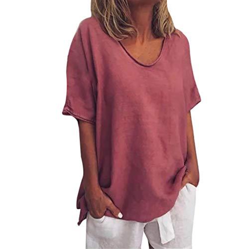 YEBIRAL Damen Leinen Shirt Casual Sommer Lose Tunika Top Rundhals Einfarbig Kurzarmshirt Bluse Große Größe(EUR-48/CN-5XL,Rotwein)