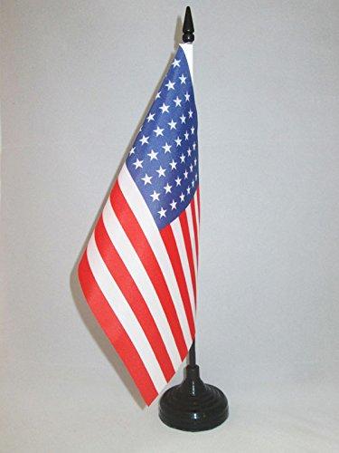 AZ FLAG USA 48 Stars Table Flag 5 x 8 - US - American Desk Flag 21 x 14 cm - Black Plastic Stick and Base