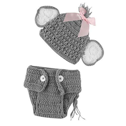 Puseky Baby Girl Neonato Lavorato a Maglia all'Uncinetto Elefante Cappello + Slip Abiti Completi per Foto Prop (Color : for Girl, Size : 0-3 Month)