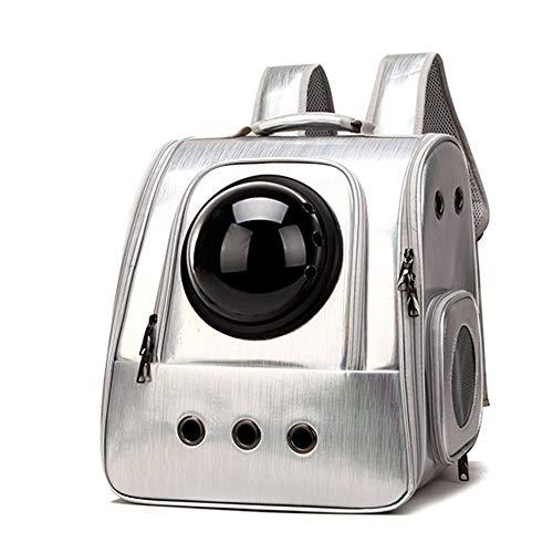#N/V Cat Bag Breathable Portable Pet Carrier Bag Outdoor Travel Backpack For Cat And Dog Transparent Space Pet Backpack,silver,36 * 35 * 28cm
