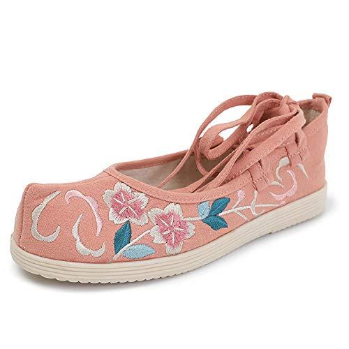 LYNLYN Zapatos Bordados Zapatos Pisos Viejo Beijing Zapatos de Tela Zapatos Bordados Alicia arquean los Zapatos Hanfu Ropa Arte de té Silvestre Pisos rápidos liyannan (Color : Pink, Size : 39 EU)