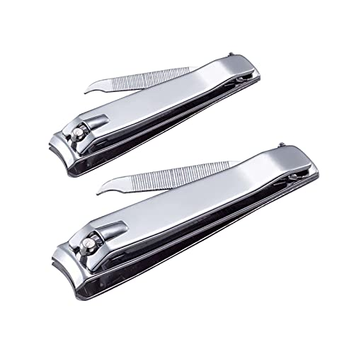 Givyahan Nail Clippers Set,Sharp Stainless Steel Toenails and Fingernails Clipper Cutter,Professional Pedicure and Manicure Kit for Men Women(2pcs Silver)