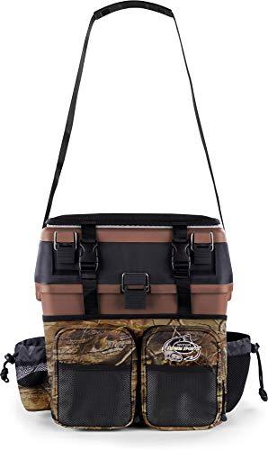 normani Sitzkiepe Angelrucksack Multi-Angelbox Sitz- und Gerätekasten mit Tragegurtsystem - inklusive 4 Kunststoffboxen Farbe Hunting Camo