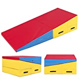 Best Choice Products 60x30x14in Kids Folding 2-Panel Cheese Wedge Incline Gym Mat for Tumbling w/Handles, Multi