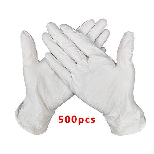 Guantes Desechable Nitrilo sin polvo, en Small, Medium, Large Caja 500 Unidades (M, Blanco )