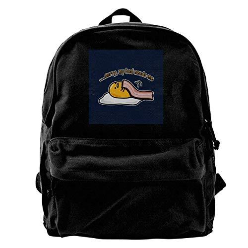 DJNGN Shoulder Bag Gudetama Sorry My Bed Needs Me Portable Adult School Anime College Travel Durable Print School Bag DIY Backpa
