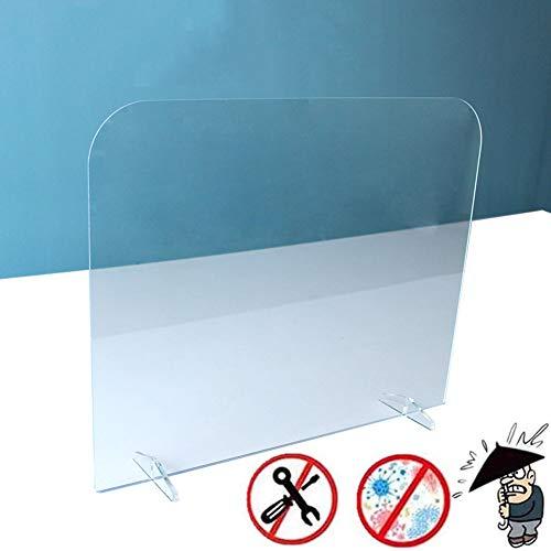 Basinnes Spuckschutz Thekenaufsatz Plexiglas | Mit Durchreiche | Niesschutz Hustenschutz Gegen Tröpfcheninfektionen | Größe Auswählbar | Kunststoffbarriere Transparent Acrylglas,H 40*W 50 cm