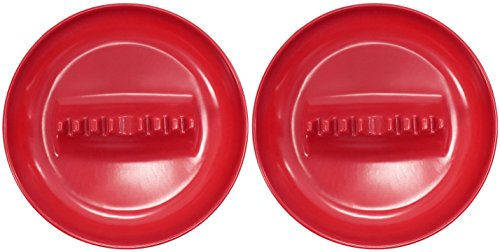 Black Duck Brand Set of 2 Melamine Large Ashtrays - 7' Diameter - 4 Assorted Fun Colors Plastic - Safety Ridge (2 Red)
