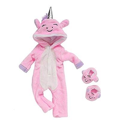 DUORUI Ropa de Muñeca Traje de Invierno Monos Pijamas para Muñeca New Born Baby Doll Patrón de Unicornio Lindo de 18 Pulgadas