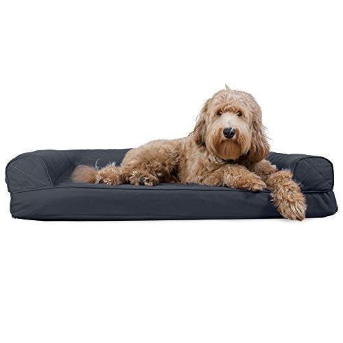 Furhaven Pet Dog Bed - Cooling Gel Memory Foam Quilted Traditional Sofa-Style Living Room Couch Pet Bed with Removable Cover for Dogs and Cats, Iron Gray, Large