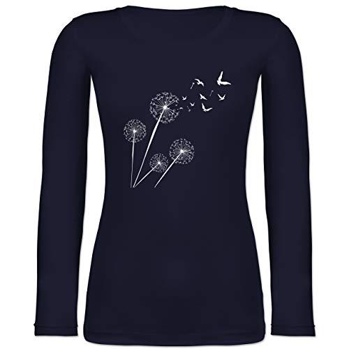 Shirtracer Statement - Pusteblume Vögel - M - Marineblau - Pusteblume - BCTW071 - Langarmshirt Damen