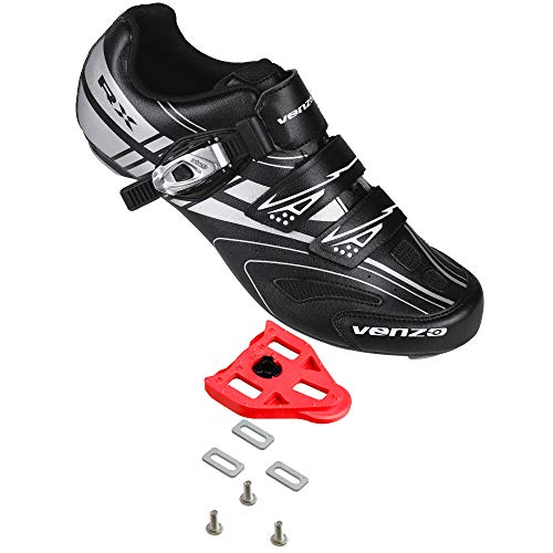 Venzo RX Road Bike Compatible with Shimano SPD SL Look Cycling Shoes and Look Delta Spin Cleats Black Size 46