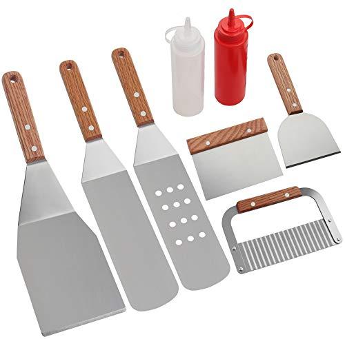 Esclusivo set di spatole Baebecue - Set completo di strumenti di cottura per vari usi di cottura con spatole, flipper, chopper / raschietto, utensile da taglio ondulato ondulato e bottiglie. Accessori per la barbecue di qualità Premium - Realizzati i...